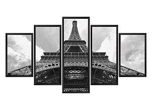 Quadro Mosaico Torre Eiffel em 5 partes