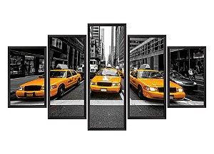 Quadro Mosaico Taxi Nova York em 5 partes