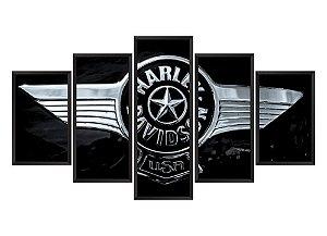 Quadro Mosaico Harley Davidson 2 em 5 partes