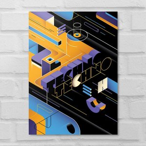 Placa Decorativa - Abstrato Techno