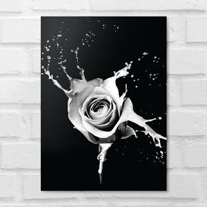 Placa Decorativa - Floral Splash Grey