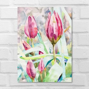 Placa Decorativa - Floral Tulipas Aquarela