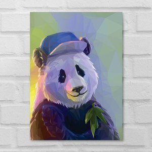 Placa Decorativa - Panda Poligonal