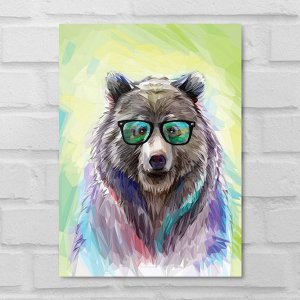 Placa Decorativa - Urso Hipster
