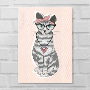 Placa Decorativa - Gatinha Hipster