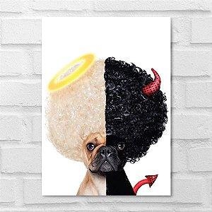 Placa Decorativa - Pug Lado Bom Lado Mal