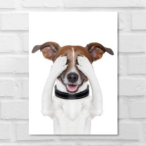 Placa Decorativa - Cachorrinho Olhos Tapados