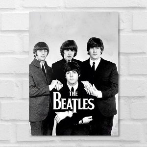 Placa Decorativa - The Beatles Clássico P&B