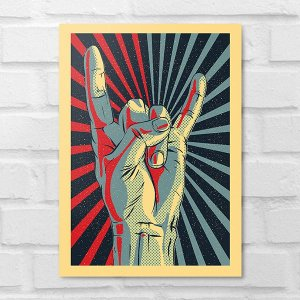 Placa Decorativa - Pop Art Hand Rock
