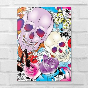 Placa Decorativa - Caveira Pop Art