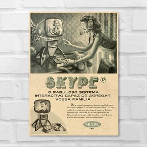 Placa Decorativa - Vintage Skype