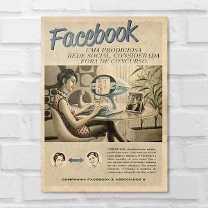 Placa Decorativa - Vintage Facebook