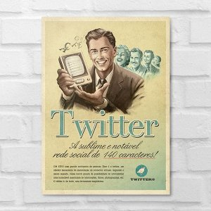 Placa Decorativa - Vintage Twitter