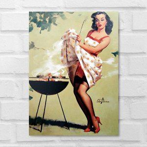 Placa Decorativa - Vintage Pin-up Churrasco