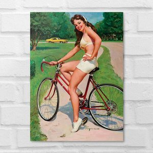 Placa Decorativa - Vintage Pin-up Ciclista