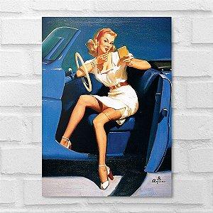 Placa Decorativa - Vintage Pin-up Driver