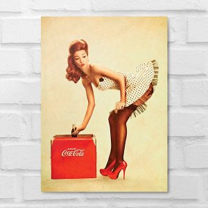 Placa Decorativa - Vintage Pin-up Coca-Cola