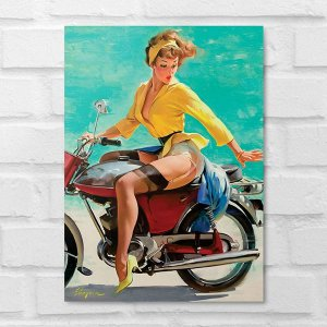 Placa Decorativa - Vintage Pin-up Motociclista