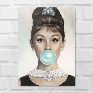 Placa Decorativa - Audrey Hepburn Chiclete