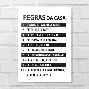 Placa Decorativa - Regras das Casa