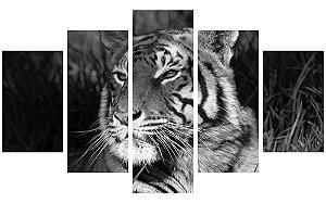 Painel Mosaico Decorativo em 5 partes - Tigre P&B