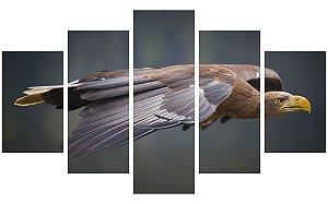 Painel Mosaico Decorativo em 5 partes - Águia Voando