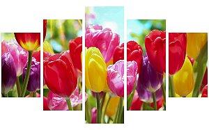 Painel Mosaico Decorativo em 5 partes - Flores