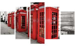 Painel Mosaico Decorativo em 5 partes - Cabine Telefônica Londres