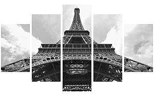 Painel Mosaico Decorativo em 5 partes - Torre Eiffel