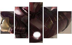 Painel Mosaico Decorativo em 5 partes - Homem de Ferro