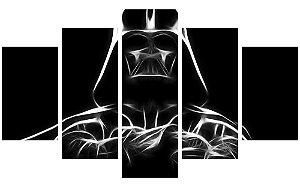 Painel Mosaico Decorativo em 5 partes - Darth Vader em Traços