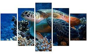 Painel Mosaico Decorativo em 5 partes - Tartaruga