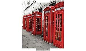 Painel Mosaico Decorativo em 3 partes - Cabine Telefônica Londres