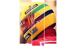 Painel Mosaico Decorativo em 3 partes - Airton Senna 2