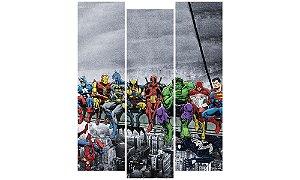 Painel Mosaico Decorativo em 3 partes - Heróis Marvel DC