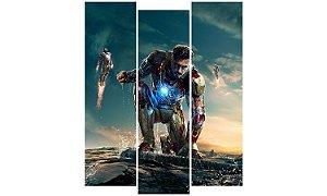 Painel Mosaico Decorativo em 3 partes - Homem de Ferro 3