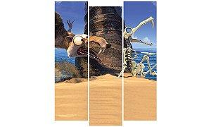 Painel Mosaico Decorativo em 3 partes - Scrat A Era do Gelo
