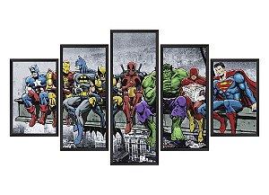 Quadro Mosaico Heróis Marvel & DC em 5 partes