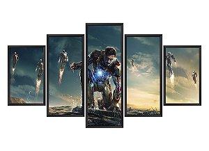 Quadro Mosaico Homem de Ferro 3 em 5 partes
