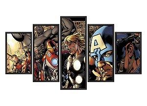 Quadro Mosaico Vingadores Ilustração em 5 partes