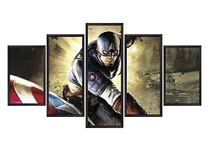 Quadro Mosaico Capitão América em 5 partes
