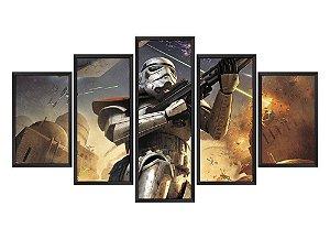 Quadro Mosaico Star Wars Soldado Clone em 5 partes