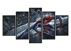 Quadro Mosaico Homem Aranha 2 em 5 partes