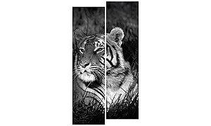Painel Mosaico Decorativo em 2 partes - Tigre P&B