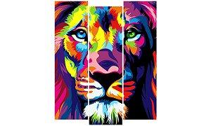 Painel Mosaico Decorativo em 3 partes - Leão Colors