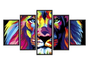 Quadro Mosaico Leão Colors em 5 partes