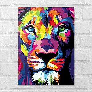 Placa Decorativa - Leão Colors