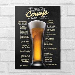 Placa Decorativa - Como Pedir uma Cerveja
