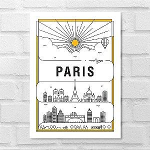 Placa Decorativa - Paris em Traços