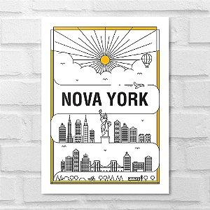 Placa Decorativa - Nova York em Traços